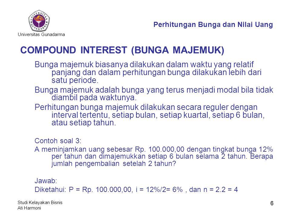 Universitas Gunadarma Studi Kelayakan Bisnis Ati Harmoni 6 COMPOUND INTEREST (BUNGA MAJEMUK) Bunga majemuk biasanya dilakukan dalam waktu yang relatif