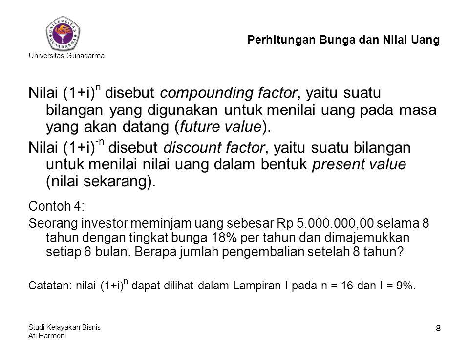 Universitas Gunadarma Studi Kelayakan Bisnis Ati Harmoni 8 Nilai (1+i) n disebut compounding factor, yaitu suatu bilangan yang digunakan untuk menilai uang pada masa yang akan datang (future value).