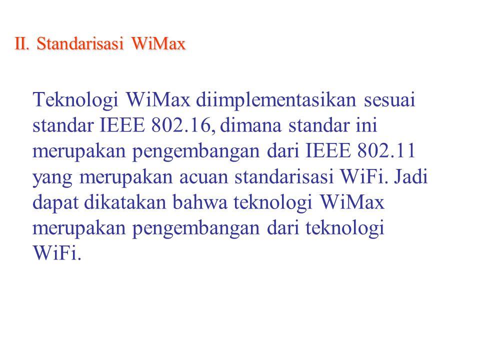 II. Standarisasi WiMax Teknologi WiMax diimplementasikan sesuai standar IEEE 802.16, dimana standar ini merupakan pengembangan dari IEEE 802.11 yang m
