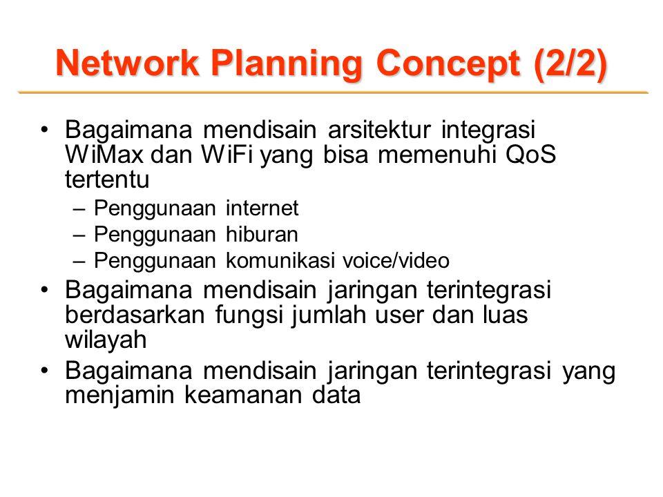 Network Planning Concept (2/2) Bagaimana mendisain arsitektur integrasi WiMax dan WiFi yang bisa memenuhi QoS tertentu –Penggunaan internet –Penggunaan hiburan –Penggunaan komunikasi voice/video Bagaimana mendisain jaringan terintegrasi berdasarkan fungsi jumlah user dan luas wilayah Bagaimana mendisain jaringan terintegrasi yang menjamin keamanan data