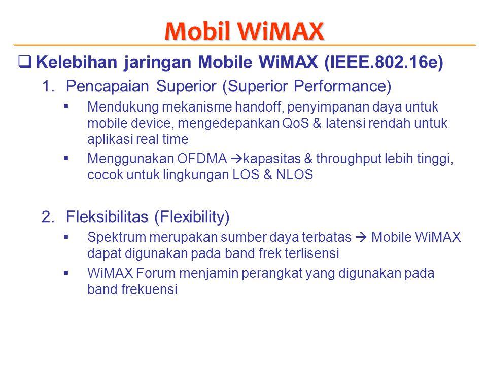 Mobil WiMAX  Kelebihan jaringan Mobile WiMAX (IEEE.802.16e) 1.Pencapaian Superior (Superior Performance)  Mendukung mekanisme handoff, penyimpanan daya untuk mobile device, mengedepankan QoS & latensi rendah untuk aplikasi real time  Menggunakan OFDMA  kapasitas & throughput lebih tinggi, cocok untuk lingkungan LOS & NLOS 2.Fleksibilitas (Flexibility)  Spektrum merupakan sumber daya terbatas  Mobile WiMAX dapat digunakan pada band frek terlisensi  WiMAX Forum menjamin perangkat yang digunakan pada band frekuensi