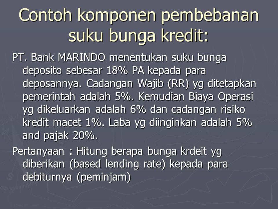 Contoh komponen pembebanan suku bunga kredit: PT. Bank MARINDO menentukan suku bunga deposito sebesar 18% PA kepada para deposannya. Cadangan Wajib (R