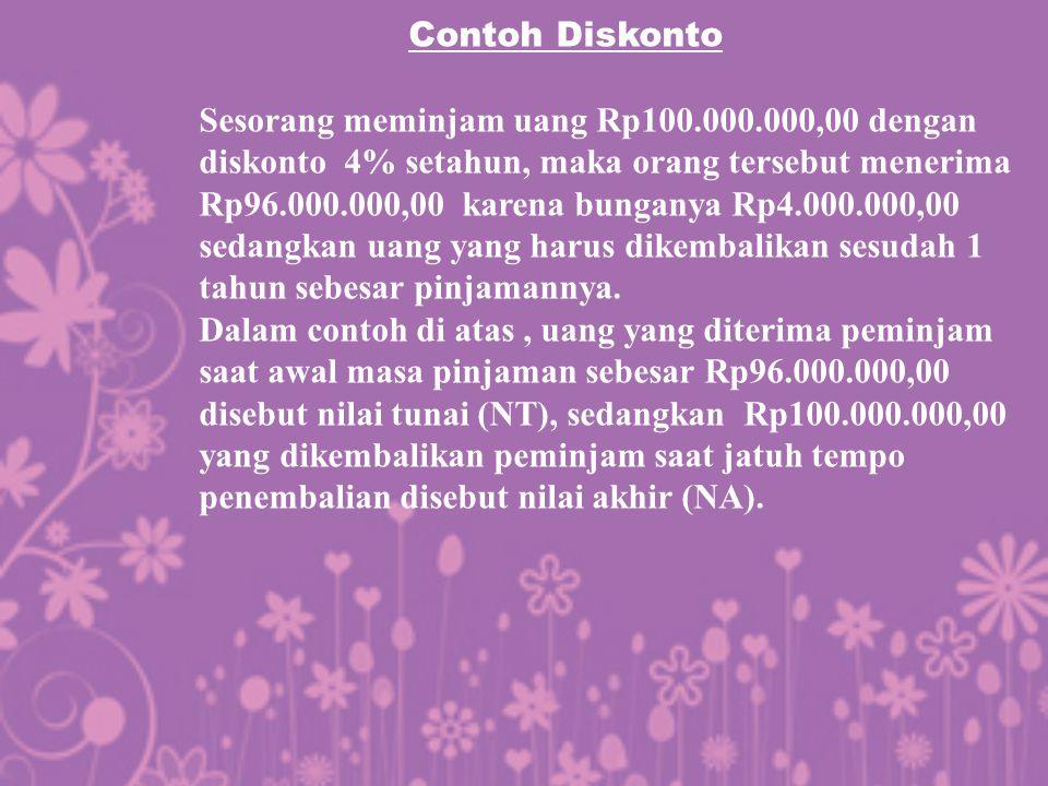 Contoh Diskonto Sesorang meminjam uang Rp100.000.000,00 dengan diskonto 4% setahun, maka orang tersebut menerima Rp96.000.000,00 karena bunganya Rp4.0
