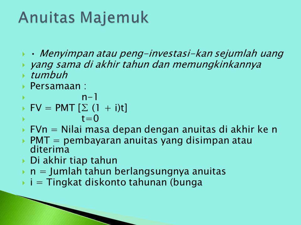  Menyimpan atau peng-investasi-kan sejumlah uang  yang sama di akhir tahun dan memungkinkannya  tumbuh  Persamaan :  n-1  FV = PMT [∑ (1 + i)t]