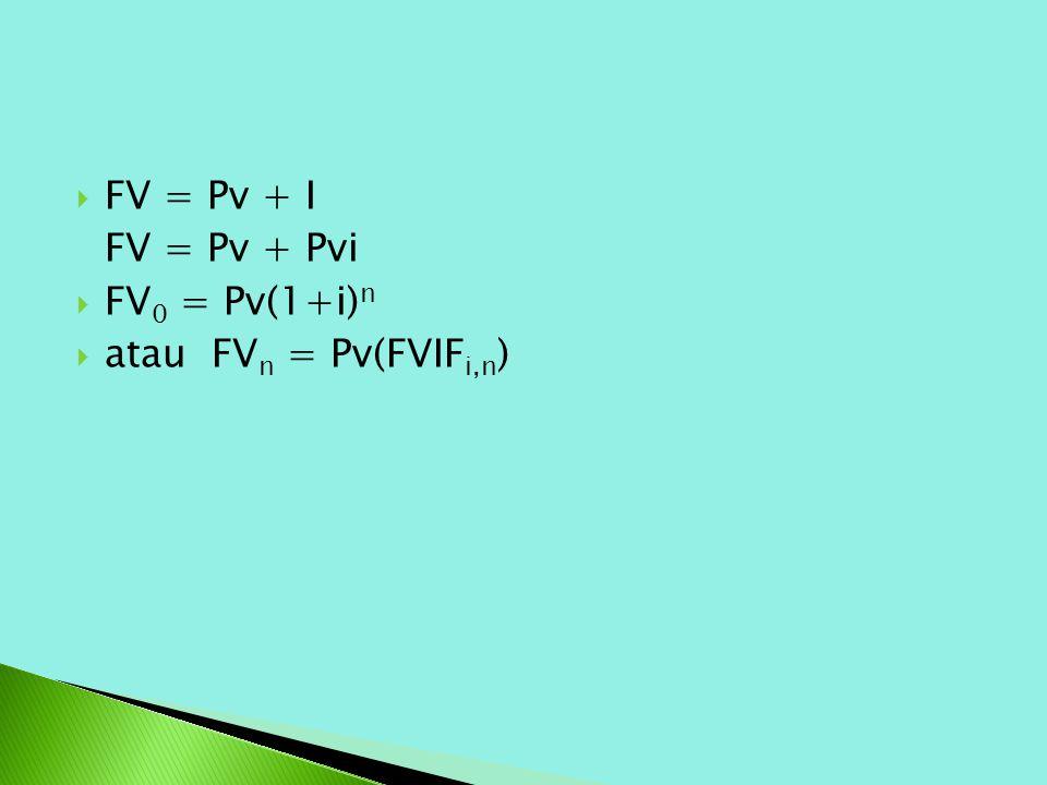  FV = Pv + I FV = Pv + Pvi  FV 0 = Pv(1+i) n  atau FV n = Pv(FVIF i,n )