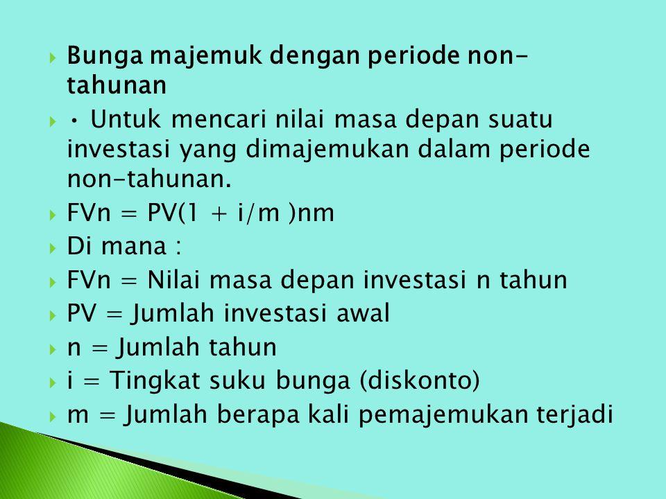  Bunga majemuk dengan periode non- tahunan  Untuk mencari nilai masa depan suatu investasi yang dimajemukan dalam periode non-tahunan.  FVn = PV(1