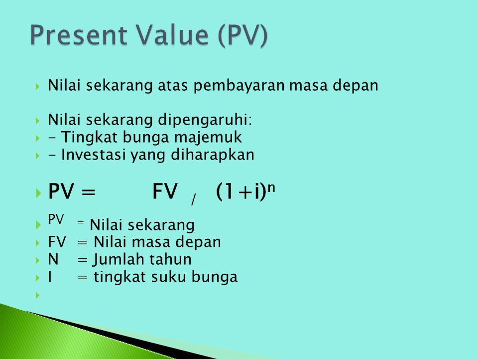  Nilai sekarang atas pembayaran masa depan  Nilai sekarang dipengaruhi:  - Tingkat bunga majemuk  - Investasi yang diharapkan  PV = FV / (1+i) n