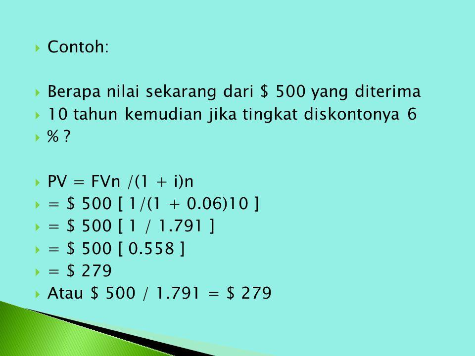  Contoh:  Berapa nilai sekarang dari $ 500 yang diterima  10 tahun kemudian jika tingkat diskontonya 6  % ?  PV = FVn /(1 + i)n  = $ 500 [ 1/(1
