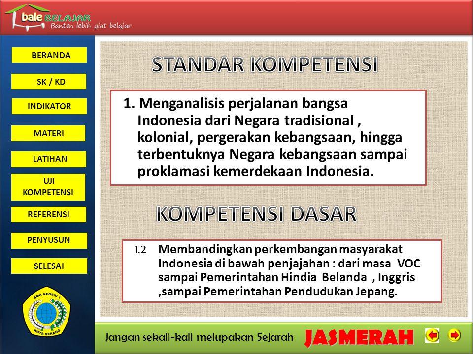 BERANDA SK / KD INDIKATORJASMERAH Jangan sekali-kali melupakan Sejarah MATERI LATIHAN UJI KOMPETENSI REFERENSI PENYUSUN SELESAI Membandingkan kebijakan pemerintah kolonial di Indonesia pada abad ke 19 dan awal abad ke-20.
