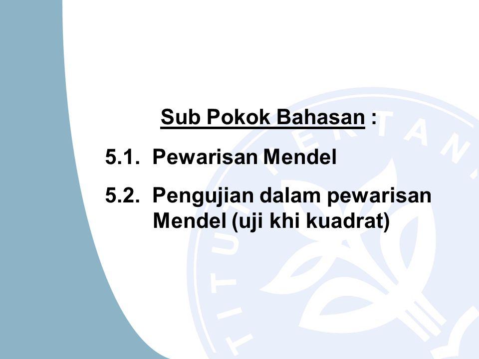 5.1. Pewarisan Mendel 5.2. Pengujian dalam pewarisan Mendel (uji khi kuadrat) Sub Pokok Bahasan :