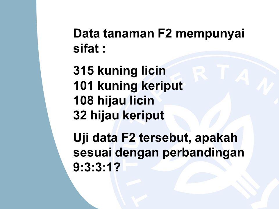 Data tanaman F2 mempunyai sifat : 315 kuning licin 101 kuning keriput 108 hijau licin 32 hijau keriput Uji data F2 tersebut, apakah sesuai dengan perb