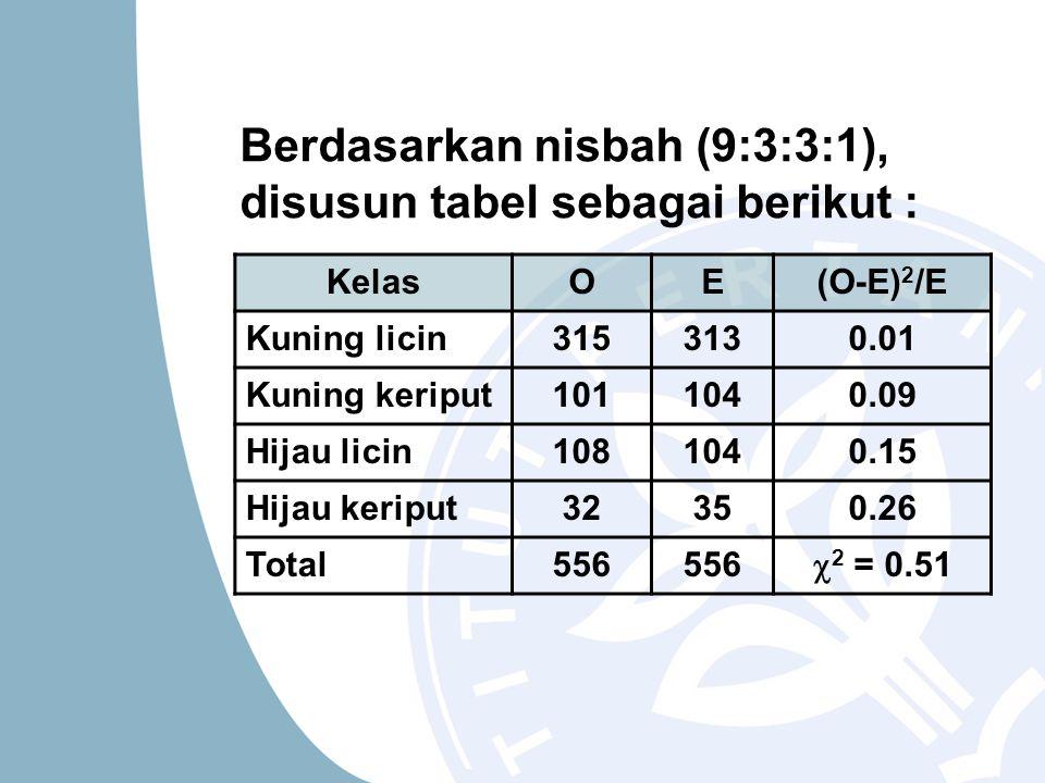 Berdasarkan nisbah (9:3:3:1), disusun tabel sebagai berikut : KelasOE(O-E) 2 /E Kuning licin3153130.01 Kuning keriput1011040.09 Hijau licin1081040.15