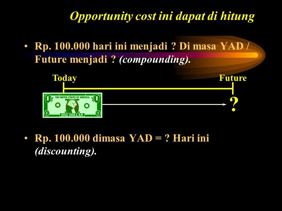 Opportunity cost ini dapat di hitung Rp. 100.000 hari ini menjadi ? Di masa YAD / Future menjadi ? (compounding). Today ? Future