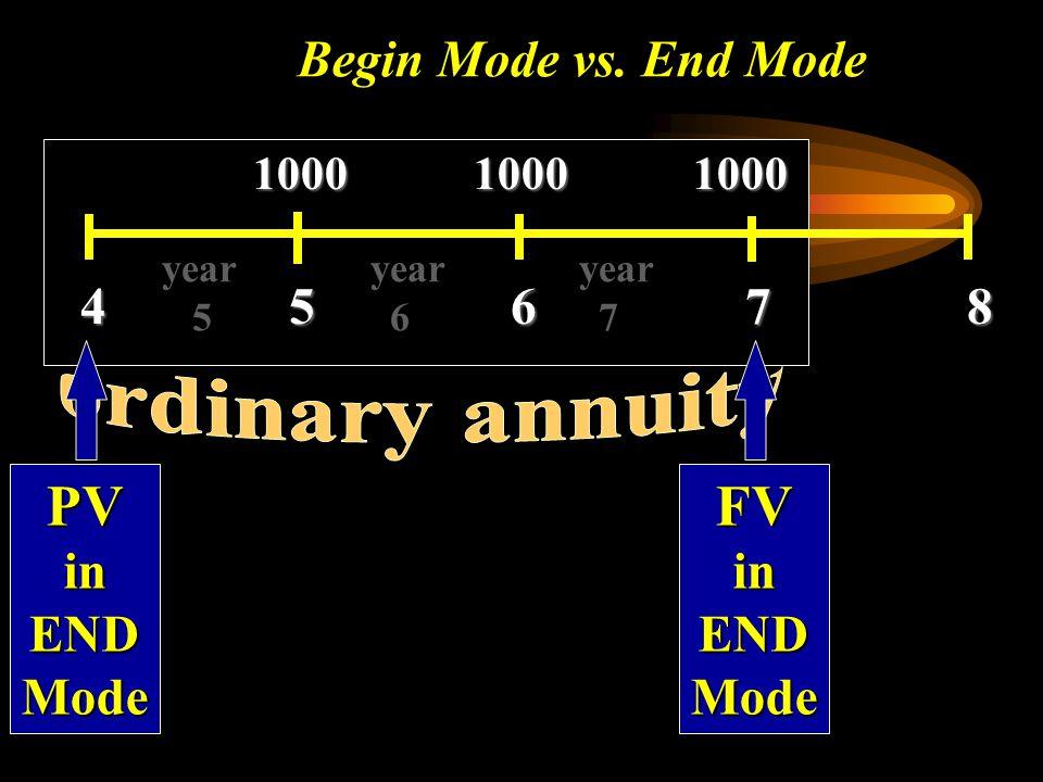 Begin Mode vs. End Mode 1000 1000 1000 4 5 6 7 8 year year year 5 6 7 PVinENDMode