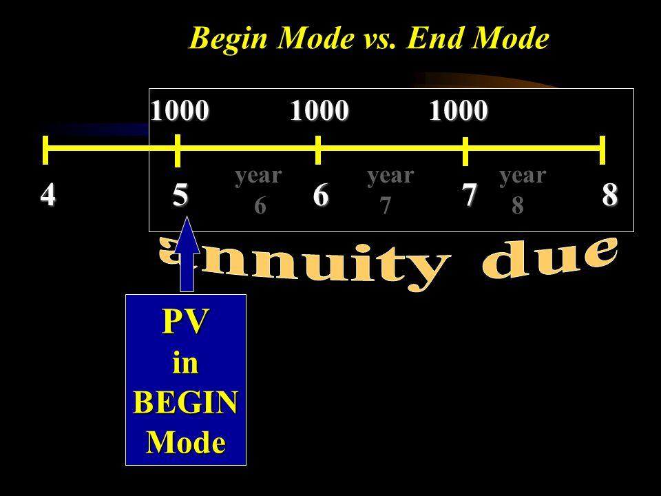 Begin Mode vs. End Mode 1000 1000 1000 4 5 6 7 8 year year year 6 7 8