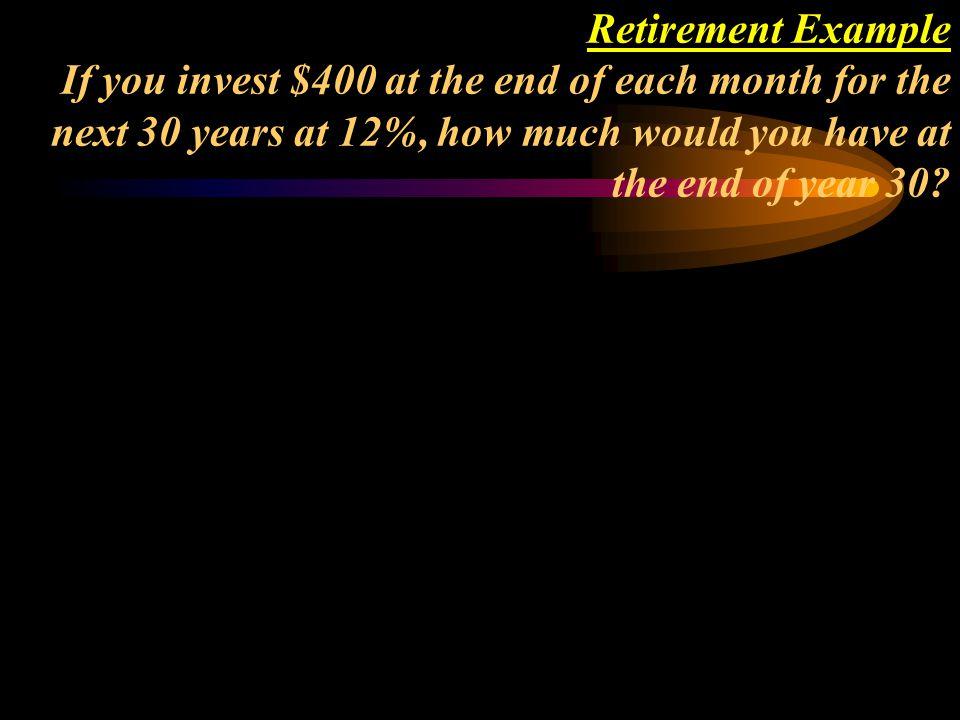 Using your calculator, P/YR = 12 N = 360 PMT = -400 I%YR = 12 FV = $1,397,985.65 01 23... 360 400 400 400 400