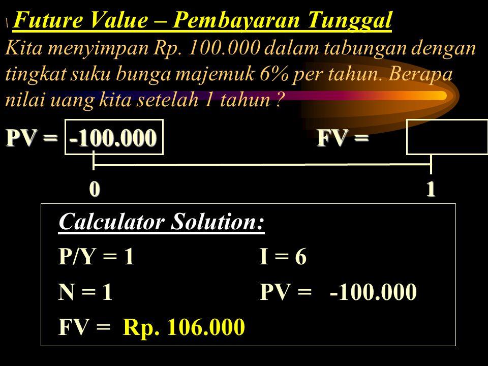 Future Value – Pembayaran Tunggal Kita menyimpan Rp. 100.000 dalam tabungan dengan tingkat suku bunga majemuk 6% per tahun. Berapa nilai uang kita set