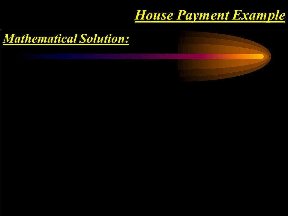 Using your calculator, P/YR = 12 N = 360 I%YR = 7 PV = $100,000 PMT = -$665.30 01 23... 360 ? ? ? ? ? ? ? ?