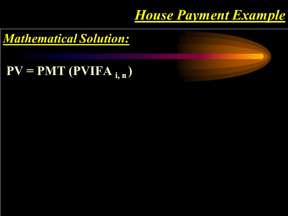 House Payment Example Mathematical Solution: