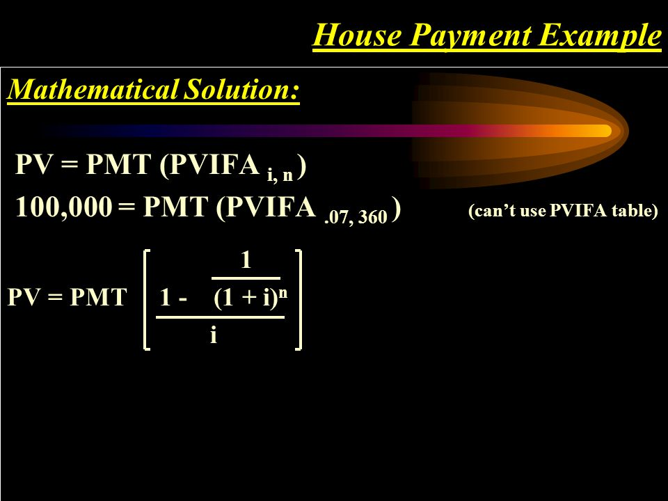 House Payment Example Mathematical Solution: PV = PMT (PVIFA i, n ) 100,000 = PMT (PVIFA.07, 360 ) (can't use PVIFA table)