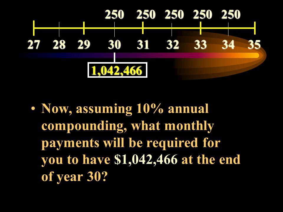Using your calculator, Mode = BEGIN PMT = -$250,000 N = 5 I%YR = 10 P/YR = 1 PV = $1,042,466 272829303132333435 250 250 250 250 250 250 250 250 250 25