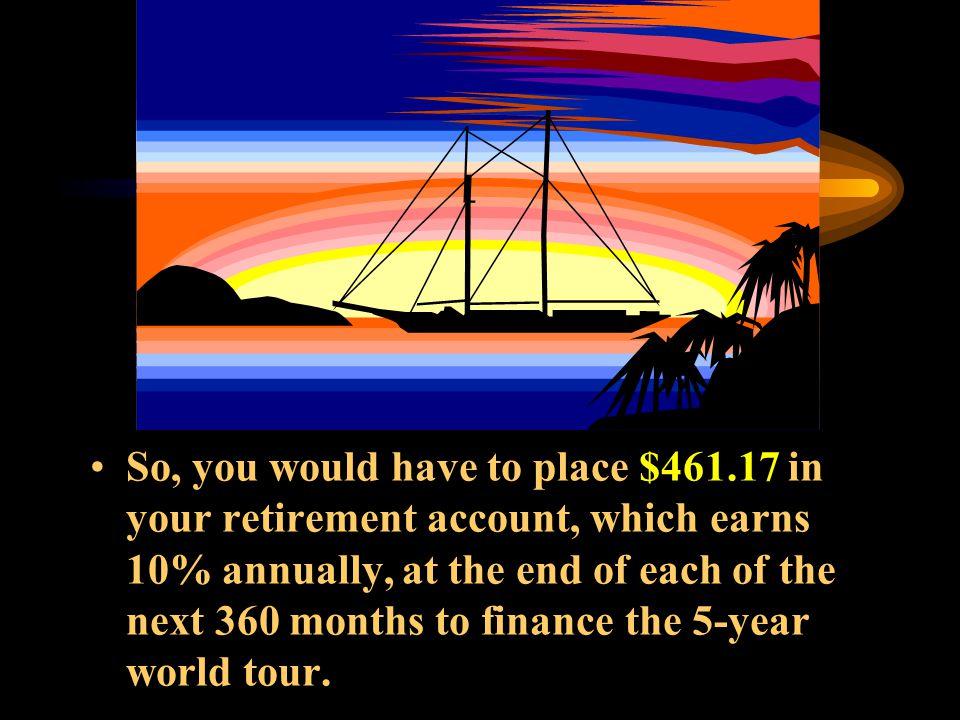  Using your calculator, Mode = END N = 360 I%YR = 10 P/YR = 12 FV = $1,042,466 PMT = -$461.17 272829303132333435 250 250 250 250 250 250 250 250 250