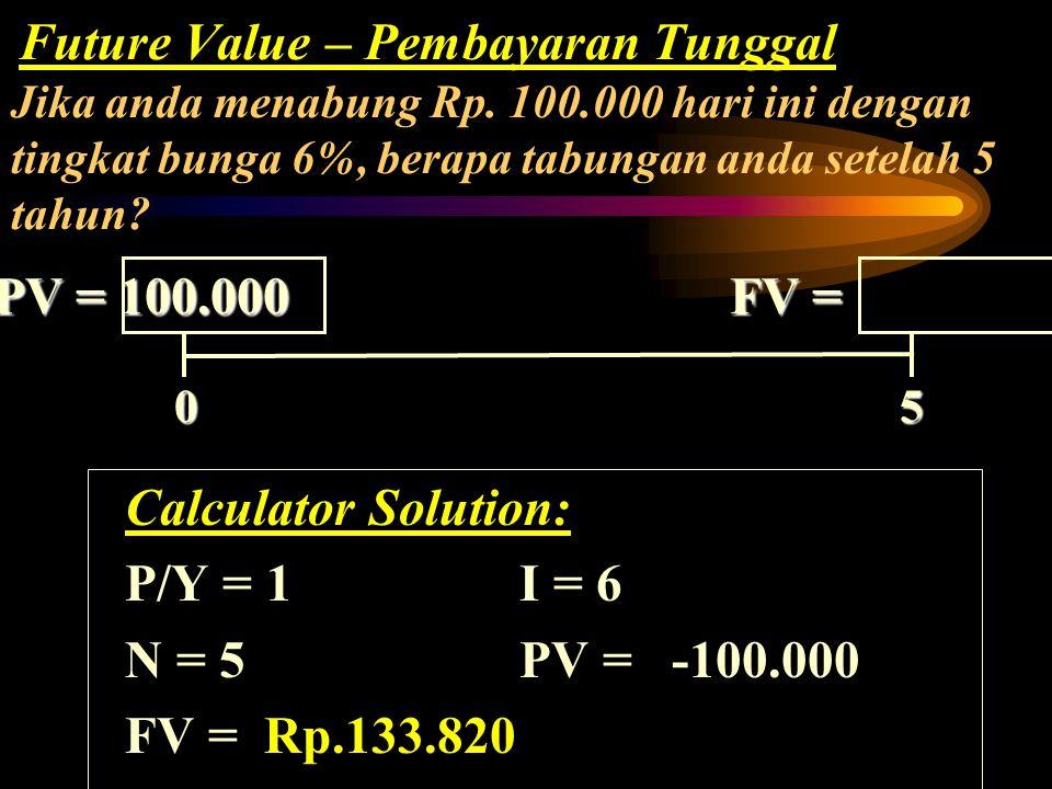 0 5 0 5 PV = FV =