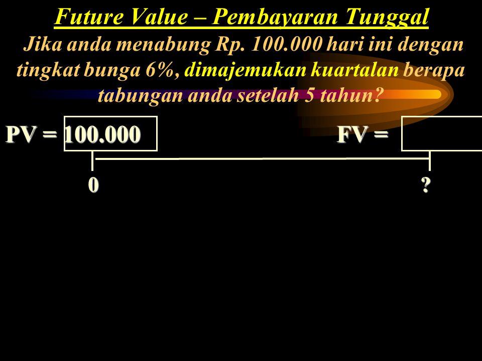 Future Value – Pembayaran Tunggal Jika anda menabung Rp. 100.000 hari ini dengan tingkat bunga 6%, dimajemukan kuartalan berapa tabungan anda setelah