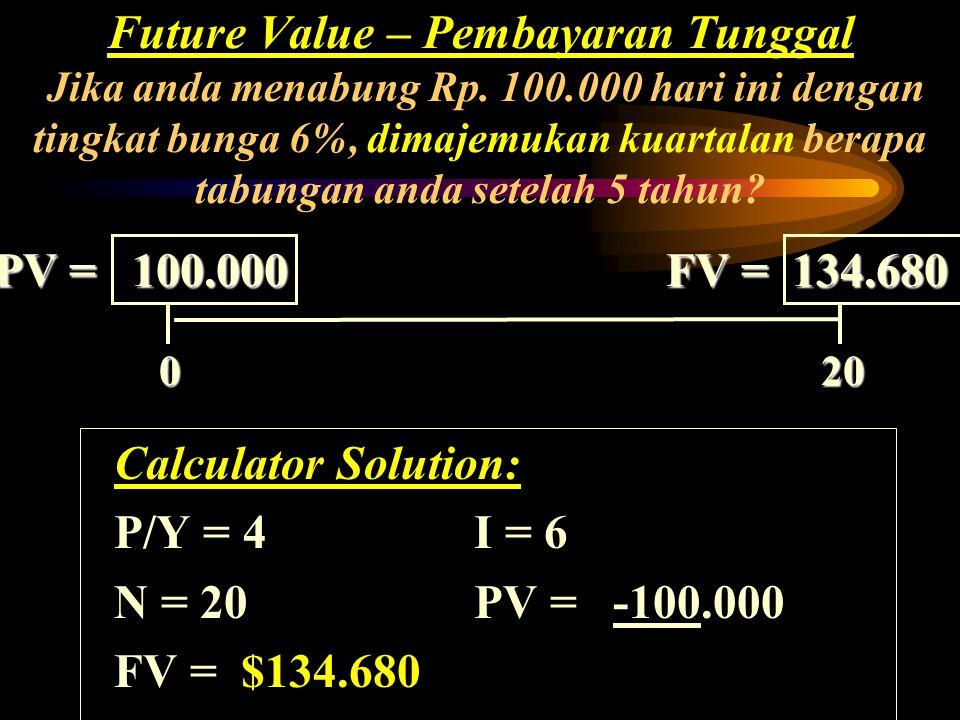 Calculator Solution: P/Y = 4I = 6 N = 20 PV = -100.000 FV = Rp. 134.680 Future Value – Pembayaran Tunggal Jika anda menabung Rp. 100.000 hari ini deng