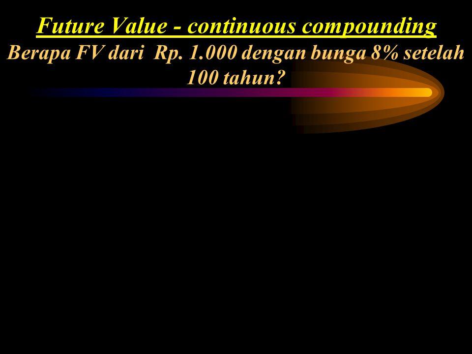 FV n = PV (1+i/m) mn FVn= nilai masa depan investasi diakhir tahun ke-n PV= nilai sekarang atau jumlah investasi mula-mula diawal tahun pertama n= jum