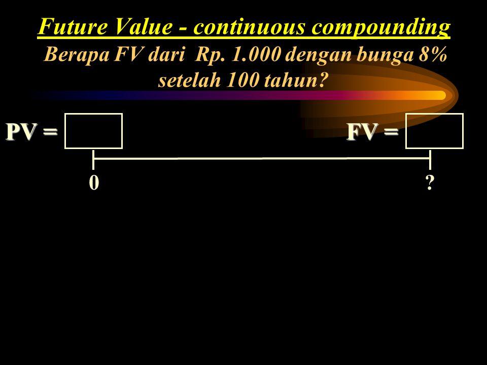 Future Value - continuous compounding Berapa FV dari Rp. 1.000 dengan bunga 8% setelah 100 tahun?