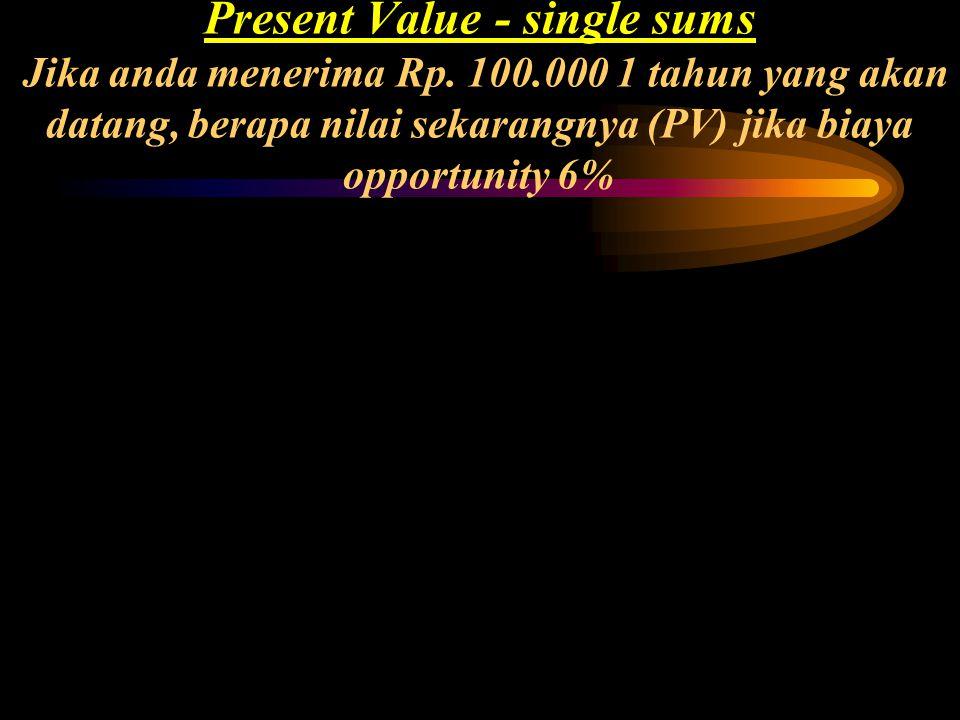 Mathematical Solution: PV = FV (PVIF i, n ) PV = 100.000 (PVIF.06, 1 )(use PVIF table, or) PV = FV / (1 + i) n PV = 100.000 / (1.06) 1 = Rp. 94.340 PV