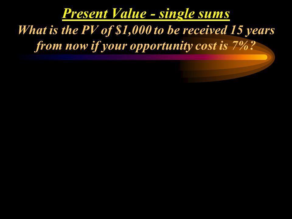 Mathematical Solution: PV = FV (PVIF i, n ) PV = 100 (PVIF.06, 5 ) (use PVIF table, or) PV = FV / (1 + i) n PV = 100 / (1.06) 5 = $74.73 Present Value