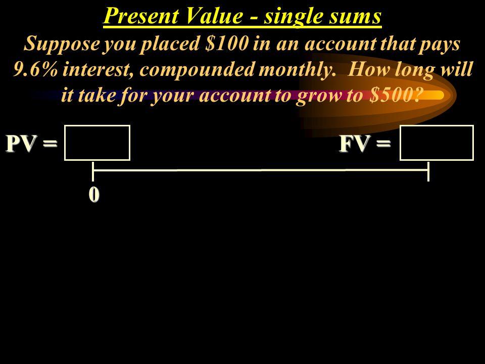 Mathematical Solution: PV = FV (PVIF i, n ) 5,000 = 11,933 (PVIF ?, 5 ) PV = FV / (1 + i) n 5,000 = 11,933 / (1+ i) 5.419 = ((1/ (1+i) 5 ) 2.3866 = (1