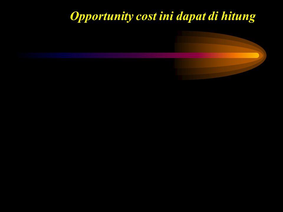Uang yg kita terima hari ini Rp. 100.000 akan bernilai lebih/ tumbuh dimasa yang akan datang. Ini sering di kenal sebagai opportunity costs. Opportuni