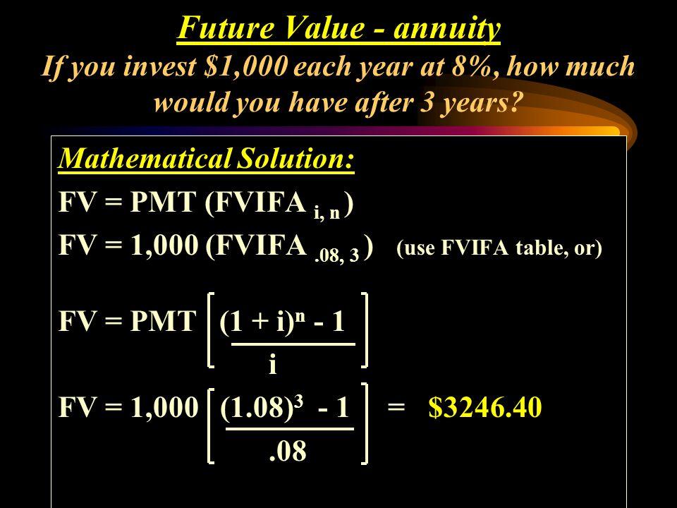 Mathematical Solution: FV = PMT (FVIFA i, n ) FV = 1,000 (FVIFA.08, 3 ) (use FVIFA table, or) FV = PMT (1 + i) n - 1 i Future Value - annuity If you i