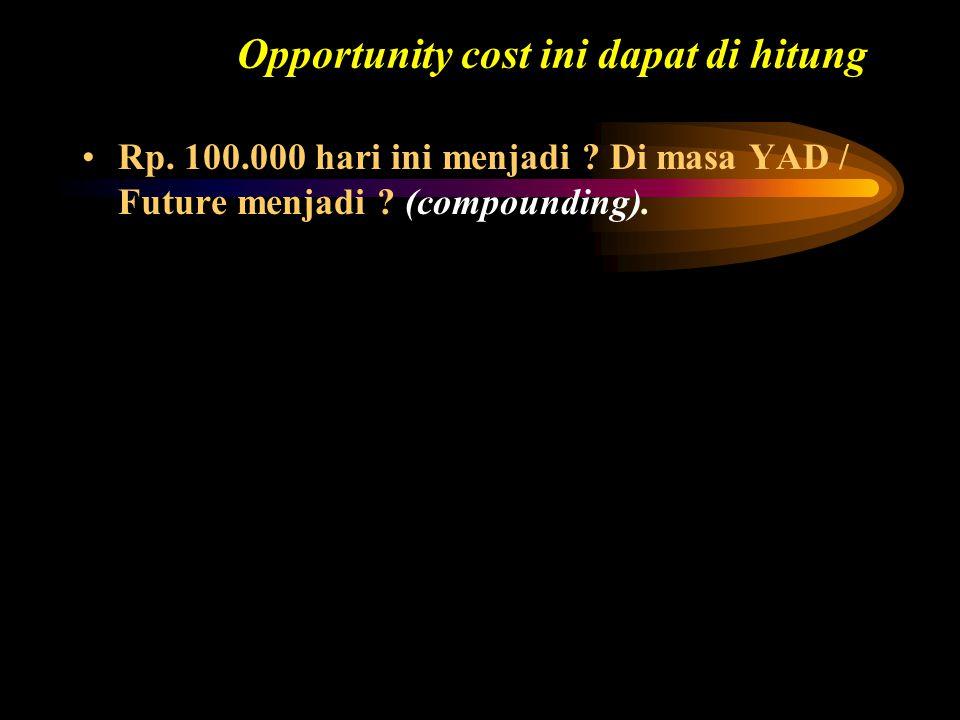 Calculator Solution: P/Y = 4I = 6 N = 20 PV = -100.000 FV = $134.680 Future Value – Pembayaran Tunggal Jika anda menabung Rp.