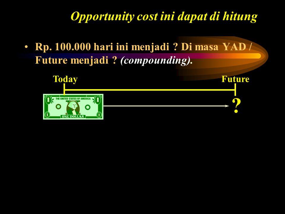 FV= Nilai masa depan investasi di akhir tahun ke n i= Interest Rate (Tingkat suku bunga atau diskonto) tahunan PV= Present Value (Nilai sekarang atau jumlah investasi mula-mula diawal tahun) (1+i) n dapat dihitung menggunakan tabel A-3 (tabel FVIF-Future Value Interest Factor) atau Lampiran B (Compoud) FV = PV (1 + i) n atau FV = PV (FVIF i, n )