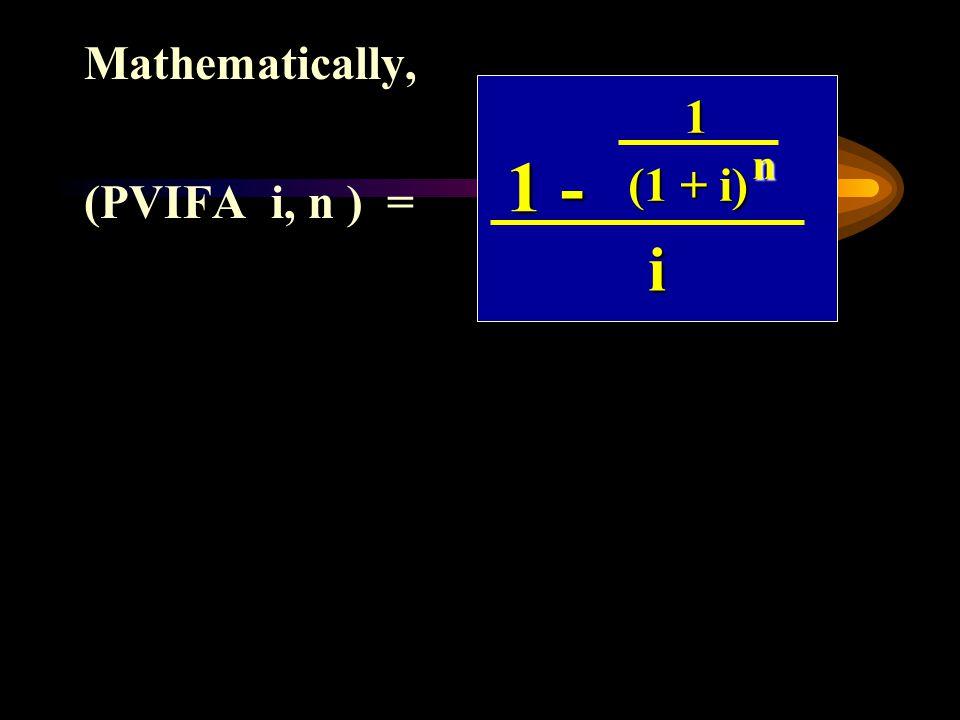 (PVIFA i, n ) =
