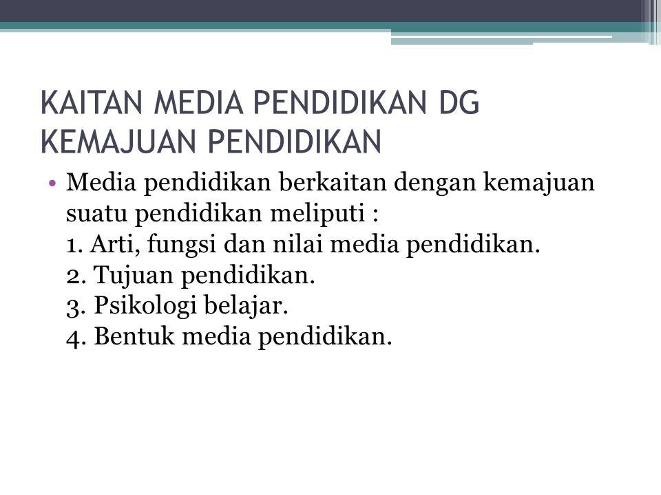 KAITAN MEDIA PENDIDIKAN DG KEMAJUAN PENDIDIKAN Media pendidikan berkaitan dengan kemajuan suatu pendidikan meliputi : 1. Arti, fungsi dan nilai media