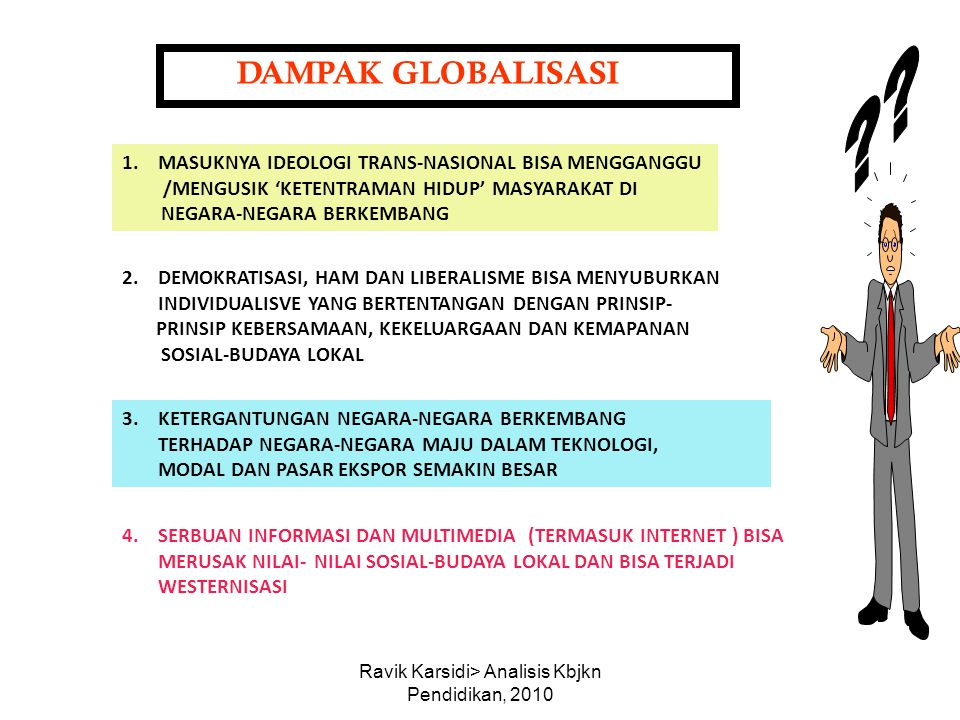 Ravik Karsidi> Analisis Kbjkn Pendidikan, 2010 DAMPAK GLOBALISASI 1.MASUKNYA IDEOLOGI TRANS-NASIONAL BISA MENGGANGGU /MENGUSIK 'KETENTRAMAN HIDUP' MAS
