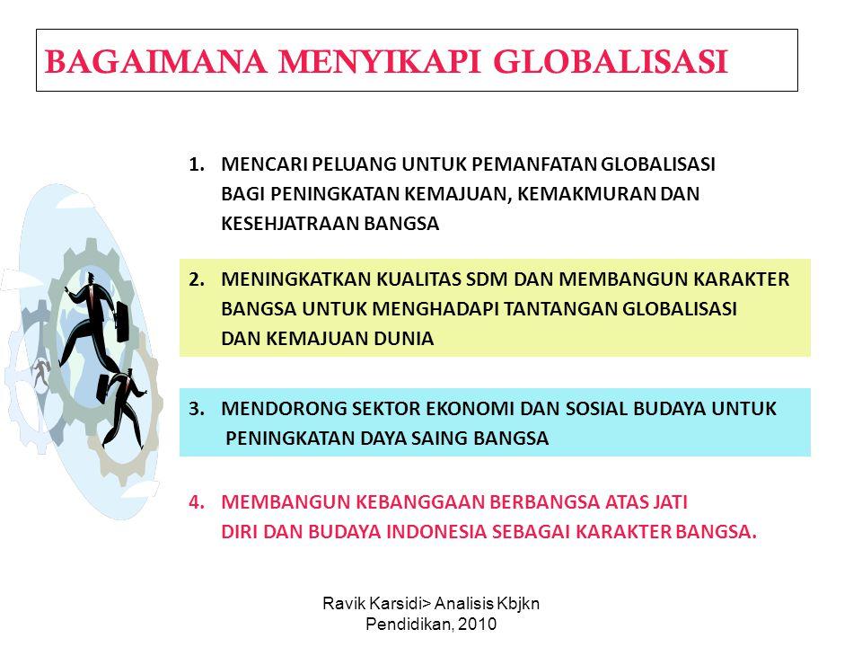 Ravik Karsidi> Analisis Kbjkn Pendidikan, 2010 BAGAIMANA MENYIKAPI GLOBALISASI 1.MENCARI PELUANG UNTUK PEMANFATAN GLOBALISASI BAGI PENINGKATAN KEMAJUA