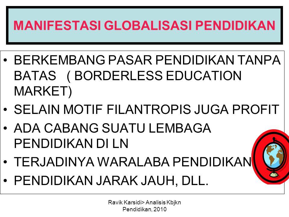 Ravik Karsidi> Analisis Kbjkn Pendidikan, 2010 MANIFESTASI GLOBALISASI PENDIDIKAN BERKEMBANG PASAR PENDIDIKAN TANPA BATAS ( BORDERLESS EDUCATION MARKE