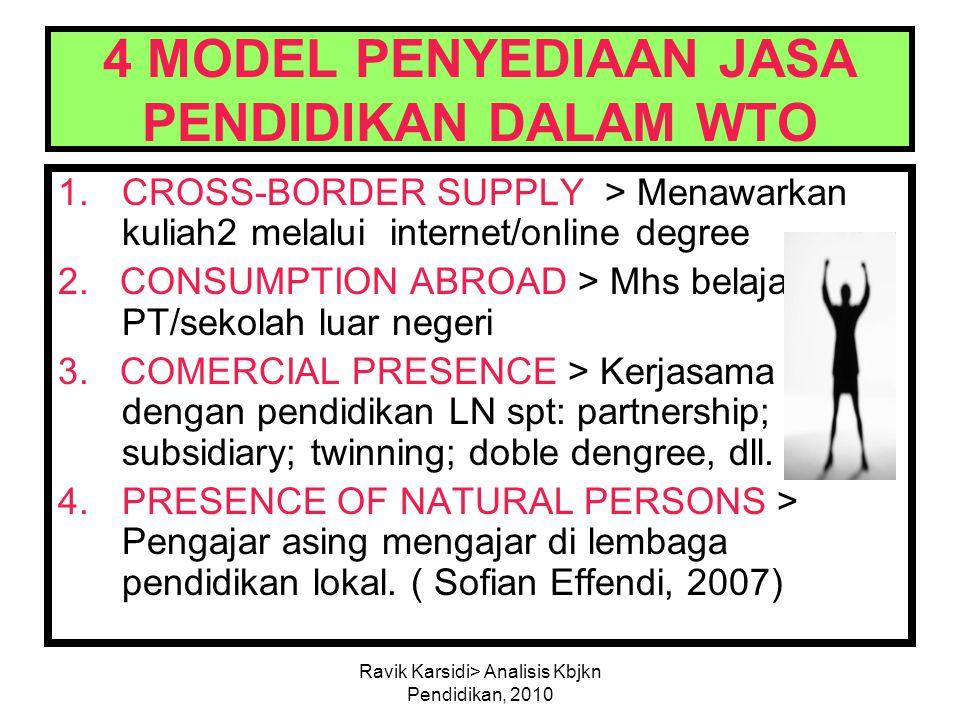 Ravik Karsidi> Analisis Kbjkn Pendidikan, 2010 4 MODEL PENYEDIAAN JASA PENDIDIKAN DALAM WTO 1.CROSS-BORDER SUPPLY > Menawarkan kuliah2 melalui interne