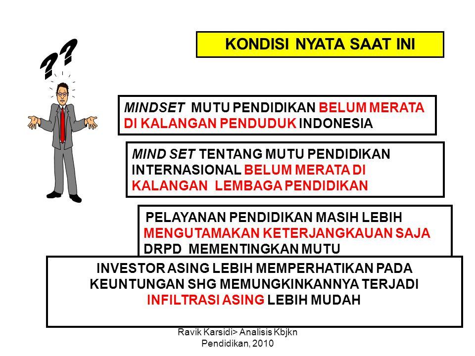 Ravik Karsidi> Analisis Kbjkn Pendidikan, 2010 KONDISI NYATA SAAT INI MINDSET MUTU PENDIDIKAN BELUM MERATA DI KALANGAN PENDUDUK INDONESIA PELAYANAN PE