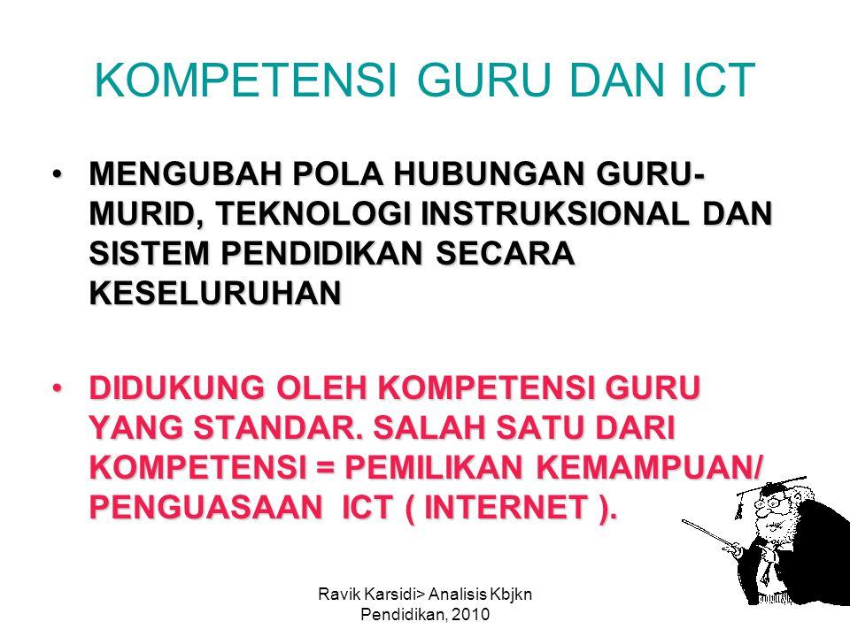 Ravik Karsidi> Analisis Kbjkn Pendidikan, 2010 KOMPETENSI GURU DAN ICT MENGUBAH POLA HUBUNGAN GURU- MURID, TEKNOLOGI INSTRUKSIONAL DAN SISTEM PENDIDIK