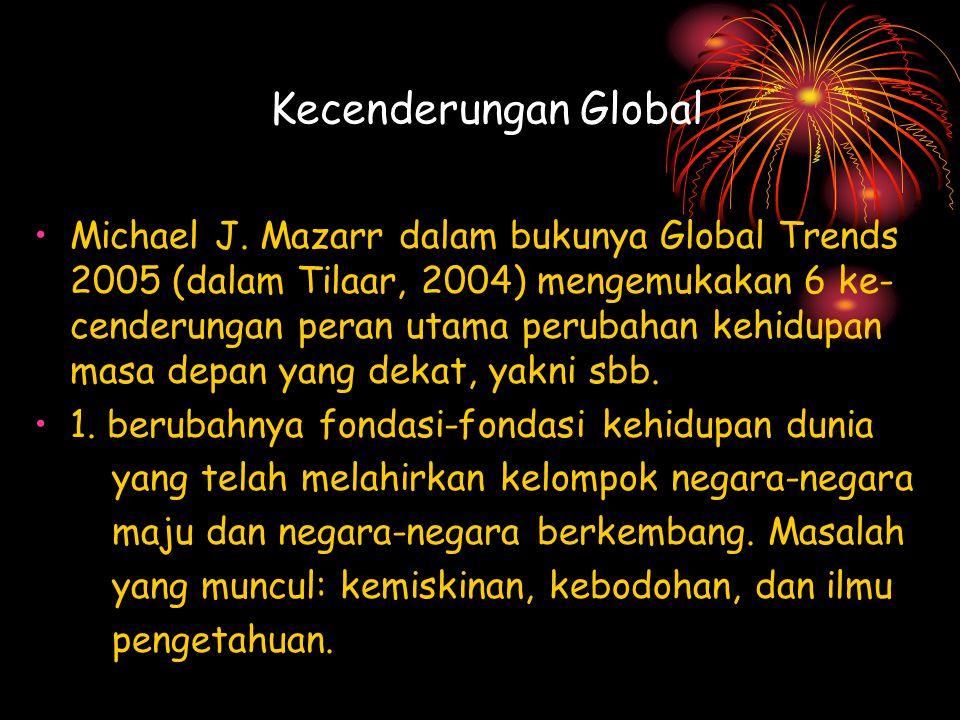 Kecenderungan Global Michael J. Mazarr dalam bukunya Global Trends 2005 (dalam Tilaar, 2004) mengemukakan 6 ke- cenderungan peran utama perubahan kehi