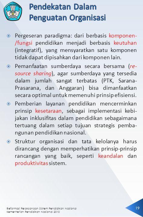 Reformasi Pelaksanaan Sistem Pendidikan Nasional Kementerian Pendidikan Nasional 2010 19  Pergeseran paradigma: dari berbasis komponen- /fungsi pendidikan menjadi berbasis keutuhan (integratif), yang mensyaratkan satu komponen tidak dapat dipisahkan dari komponen lain.