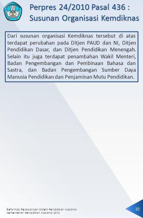 Reformasi Pelaksanaan Sistem Pendidikan Nasional Kementerian Pendidikan Nasional 2010 32 Dari susunan organisasi Kemdiknas tersebut di atas terdapat p