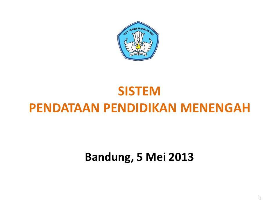 SISTEM PENDATAAN PENDIDIKAN MENENGAH Bandung, 5 Mei 2013 1